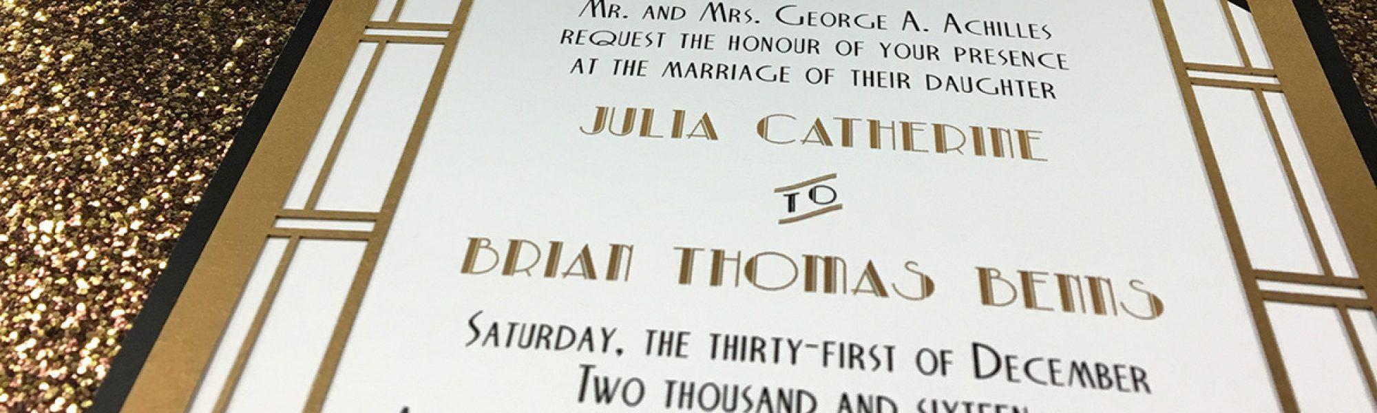 Art Deco metallic wedding invitation