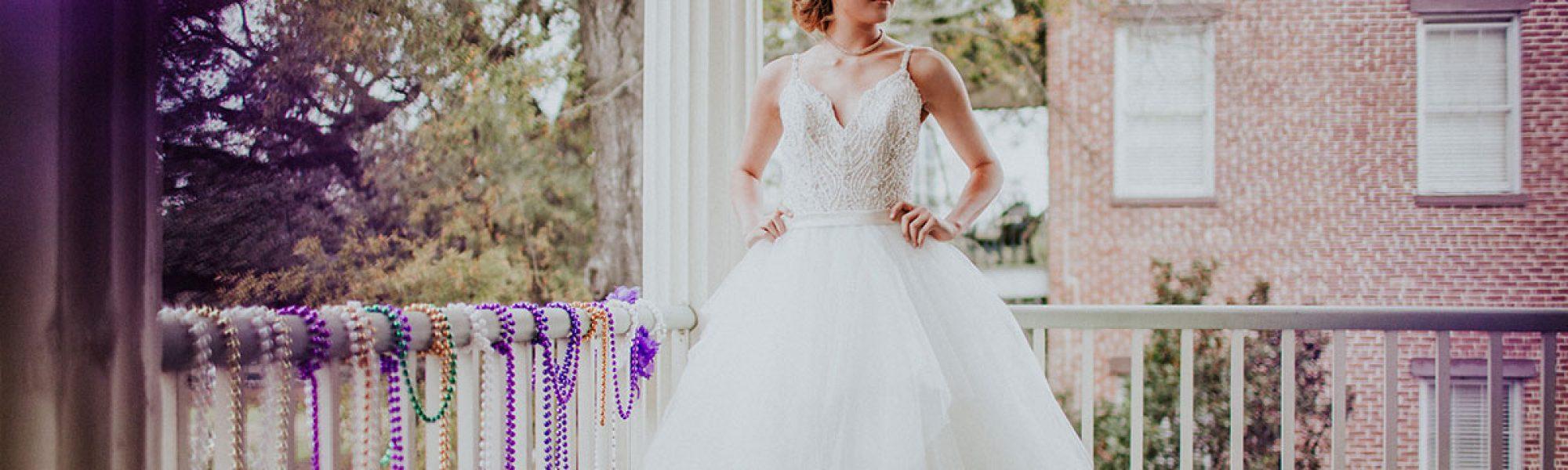 Southern Mardi Gras wedding gowns