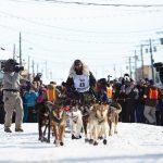 Finish line for Iditarod dog sled race near Nome
