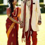 Kanchipuram Silk Saree and Cream Brocade Sherwani