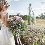 large messy lavender themed bridal bouquet