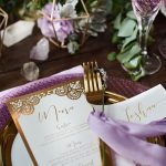 Gold boho reception dinner menu card