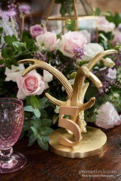 Gold accents for pink and purple wedding