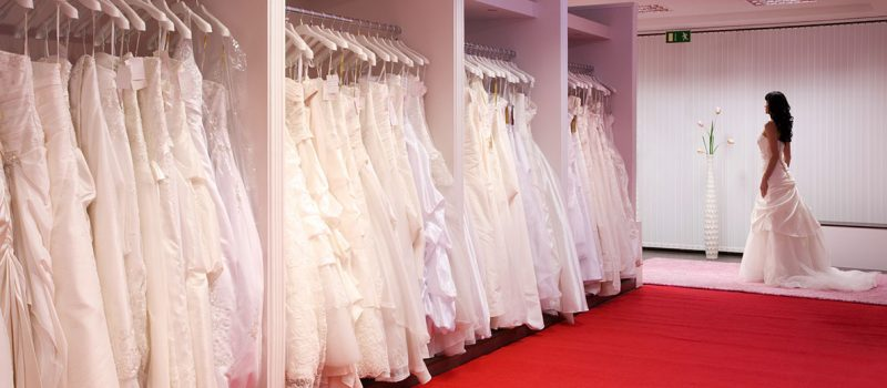 wedding dresses in a bridal shop