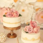 Soft palette for cakes with flower backdrop