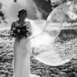 Bride with long DIY veil