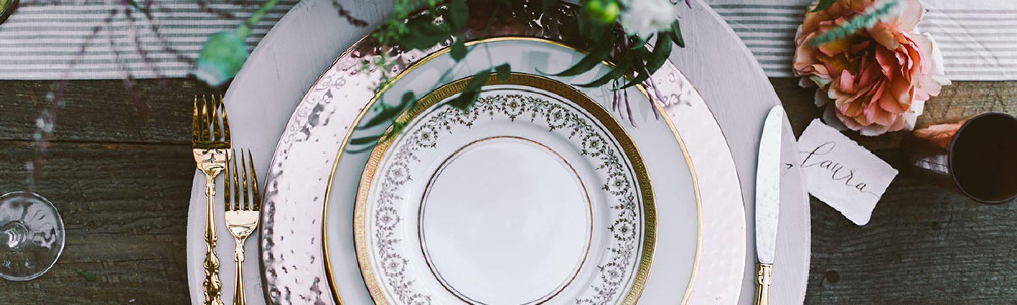 wedding rentals, plates, utensils, flatware