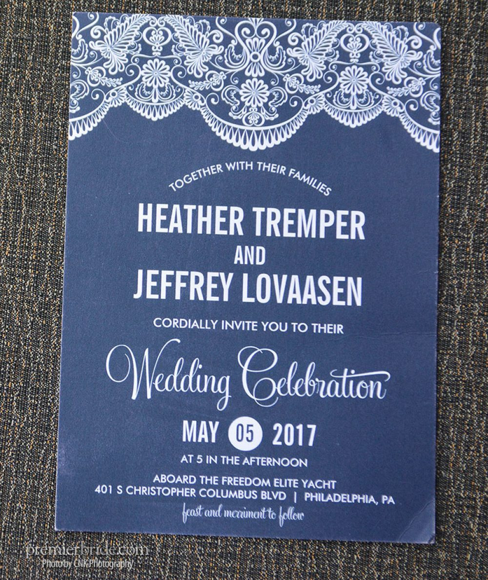 Blue invitations for bride and groom