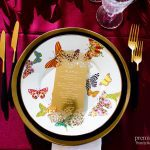 Butterfly place setting with gold die cut menu