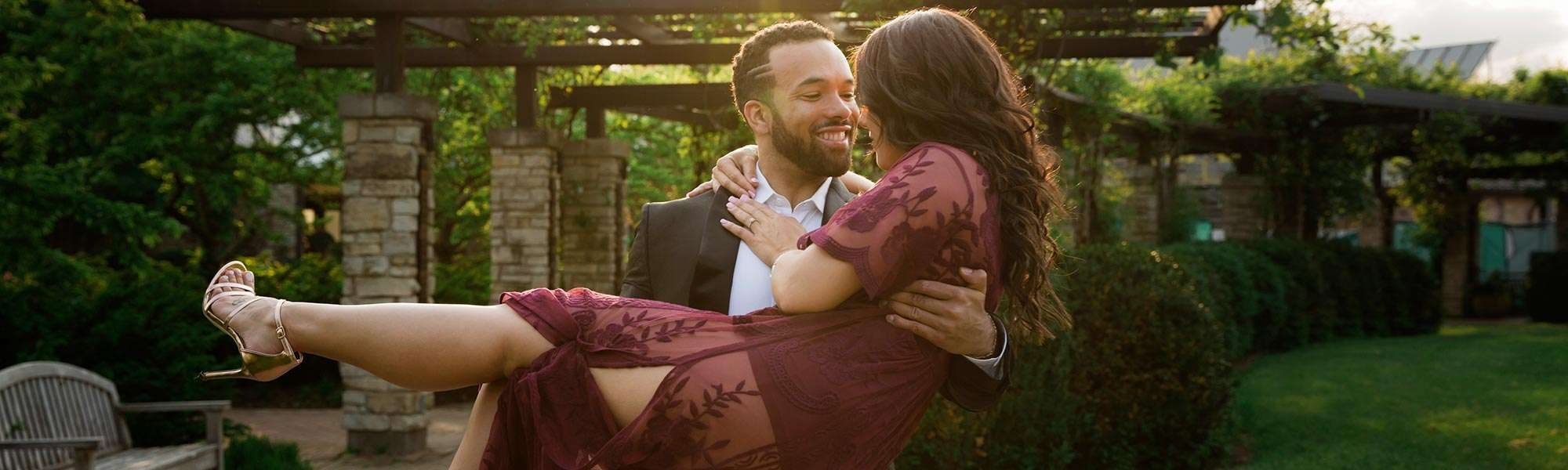 Engagement photos, beautiful attire, outdoors